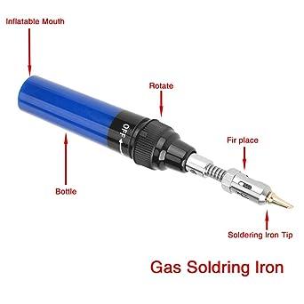 Akozon Soldador a Gas Butano inalámbrico para trabajos de soldadura 1300 ℃ Mini soldador de soplete(Azul): Amazon.es: Industria, empresas y ciencia