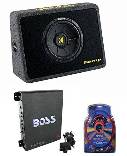 Certified Refurbished - Kicker 40TCWS104 10-Inch 600W Loaded Subwoofer with Box with Amplifier with Amp Kit - Kicker Amp Kits
