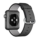 Woven Nylon Replacement Band for the Apple Watch by Pantheon, Women's or Men's, Strap fits the 38mm or 42mm for Apple iWatch 1, 2, 3 and Nike edition (42mm, Solid, Black Nylon)