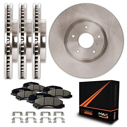 Aftermarket Brake Kits - Max KH147243 Front + Rear Premium OE Replacement Rotors with Ceramic Pads & Hardware Combo Brake Kit