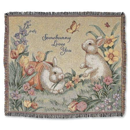 (Lillian Vernon Somebunny Loves You Throw- Easter Bunny Throw Blanket)