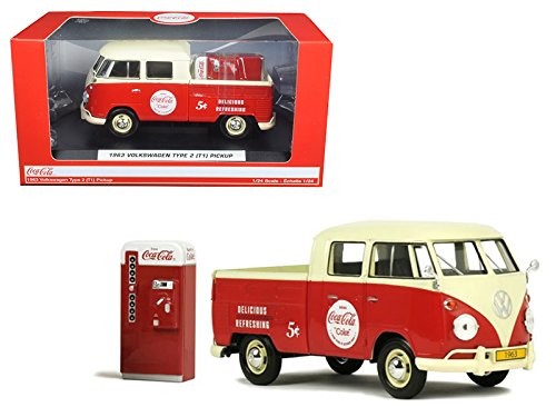 New 1:24 MOTOR CITY CLASSIC COLLECTION - COCA-COLA RED 1963 VOLKSWAGEN TYPE 2 (T1) PICKUP WITH VENDING MACHINE Diecast Model Car By Motor City Classics - Coca Cola Collectors