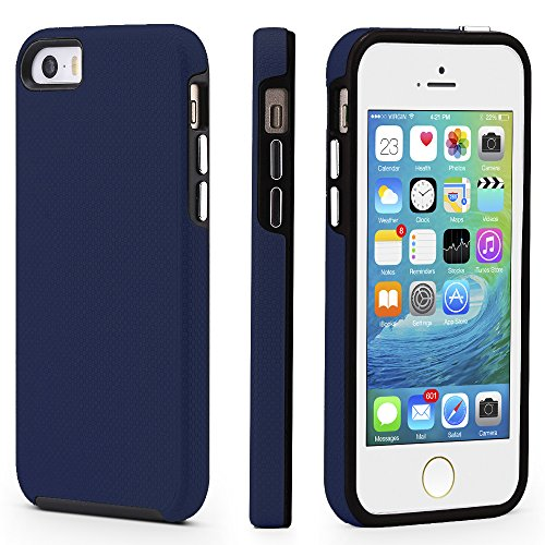 (iPhone 5/5s/SE Case, CellEver Dual Guard Protective Shock-Absorbing Scratch-Resistant Rugged Drop Protection Cover for iPhone 5/5S/SE (Navy Blue))