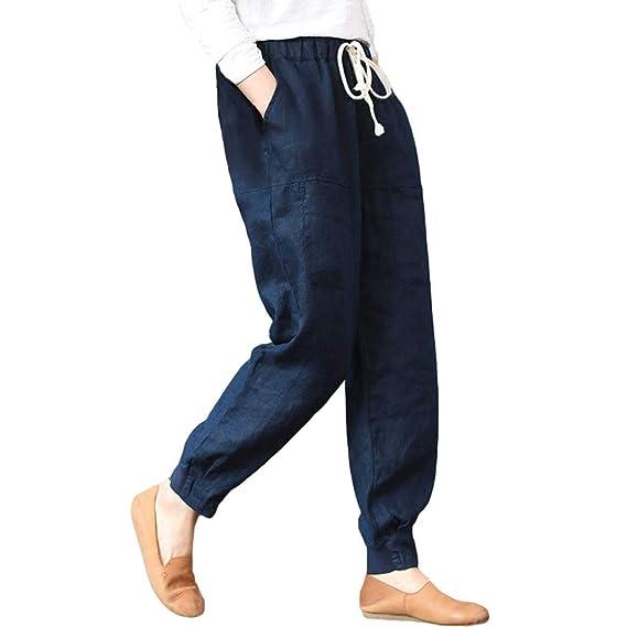 Mujer Pantalones de Harén Suelto Oversize Pantalones Casual ...