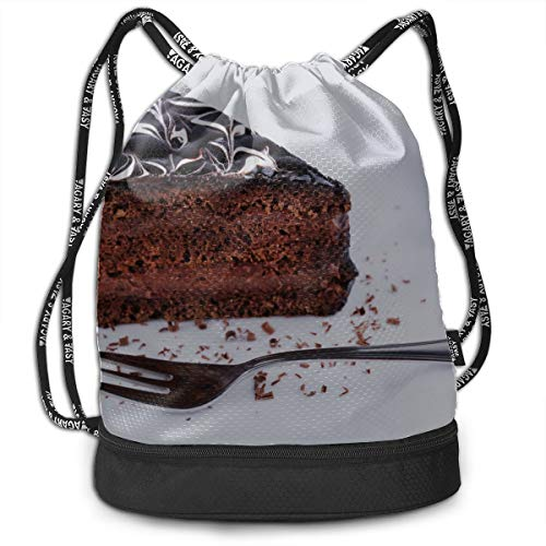 Drawstring Bags Chocolate Cake Celebration Gym Drawstring Bags Backpack Sports String Bundle Backpack For Sport With Shoe Pocket Adult Backpack