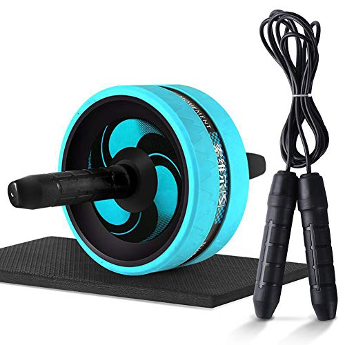 Lis-shan 2 in 1 Belly Wheel, Skipping Rope,Abdominal Exercise Ab Roller Wheel | with Extra Thick Knee Mat | for Home Gym Fitness Workout Training Equipment,Blue