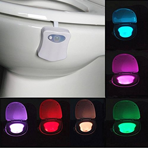 Auto Night Light- 8 Colors,Tuscom@ Body Sensing Automatic LED Motion Sensor Night Lamp Toilet Bowl Bathroom Light