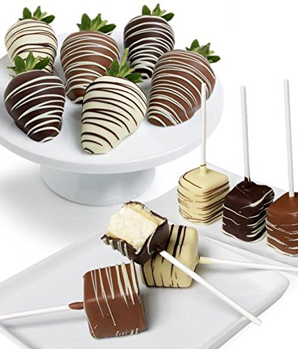 Belgian Chocolate Classic Strawberries & Cheesecake Pops - 12pc | Gourmet Gift Box includes Dark, Milk, and White Belgian Chocolate. Chocolate Dipped Cheesecake