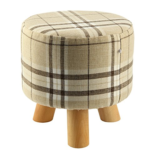 SODIAL(R) Upholstered Footstool Modern Luxury Upholstered Footstool Round Pouffe Stool + Wooden Leg Pattern:Round Fabric:Big Checkered(3 Legs) by SODIAL(R)