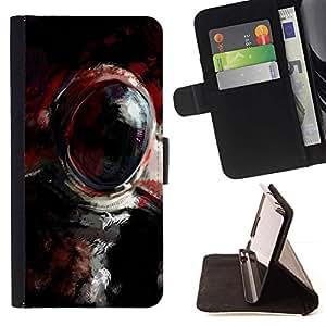 Momo Phone Case / Flip Funda de Cuero Case Cover - Pintura al óleo Cosmonauta;;;;;;;; - LG G4c Curve H522Y (G4 MINI), NOT FOR LG G4