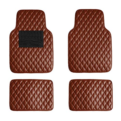 FH Group F12002BROWN Luxury Universal All-Season Heavy-Duty Faux Leather Car Floor Mats Diamond Design w. High Tech 3-D…
