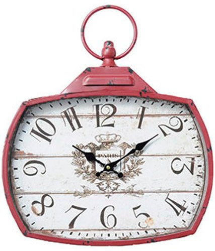 PASEO 時計 アンティークスクエアクロック レッド 14-12RD B076X1H3CR レッド レッド