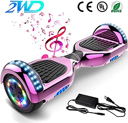 2WD Hoverboard 6.5 Scooter eléctrico Las Ruedas LED Luces Self Balance Scooter con Bluetooth, Scooter eléctrico 6.5