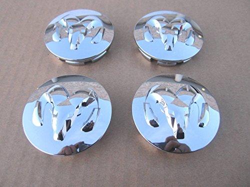 """Set of 4 OEM Dodge 2.5"""" Chrome Logo Wheel Center Caps For Durango, Dakota, Ram 1500 - 52013982AA / 52013985AA"""