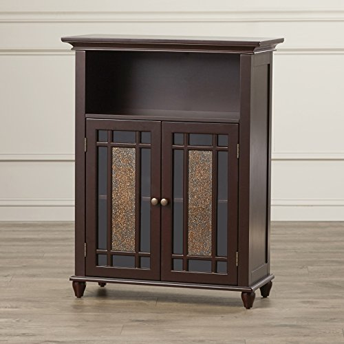 Two Door Bathroom Storage Floor Cabinet - Home Wooden Cabinet Floor Storage Furniture - Bathroom Laundry Open Shelves Cabinet With Glass Doors Organizer (Dark Espresso)
