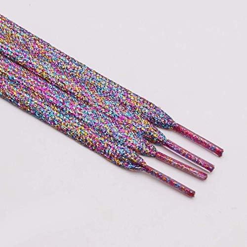 JWJY グリッター靴ひもシャイニーファッションキラキラ靴ひもクリスマスカラーのシックなきらめく7ミリメートルメタリックBootlaces (Color : 2365 Colorful, Length : 80cm)