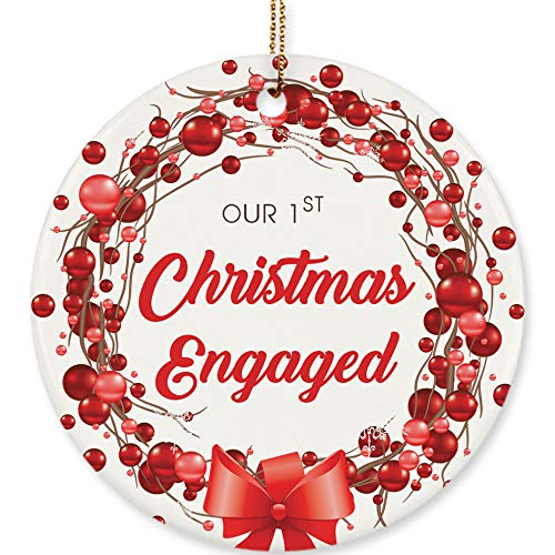 (Our 1st Christmas Engaged Ornament Engagement Keepsake Mistletoe Holly Red Pepper Berry Wreath Gifts 2018 Engaged Couple Christmas Tree Decoration Gift Home Decor 3 inches Flat Circle Ceramic Ribbon)