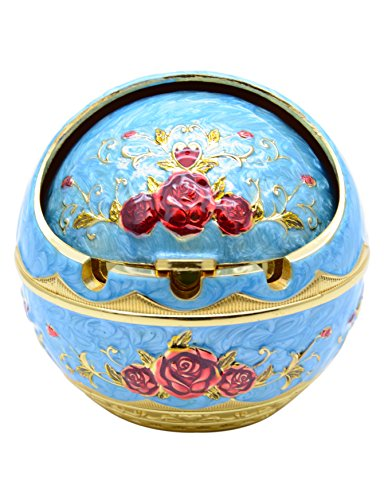 TOWOMO Vintage Cigar Ashtray with Lid, Red Rose Pattern-Blue
