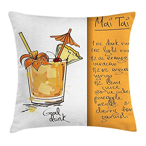 Tiki Bar Throw Pillow Cushion Cover, Hand Drawn Style Mai Tai Cocktail in a Glass and The Recipe Hawaiian Drink, Decorative Square Accent Pillow Case, 18 X 18 inches, Orange and White