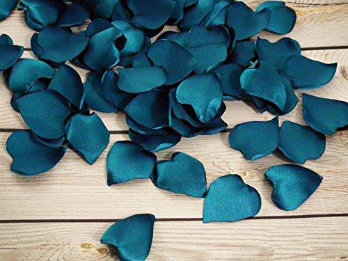 25 heart shaped TEAL satin rose petals, ready to ship (Roses Wedding Tone)