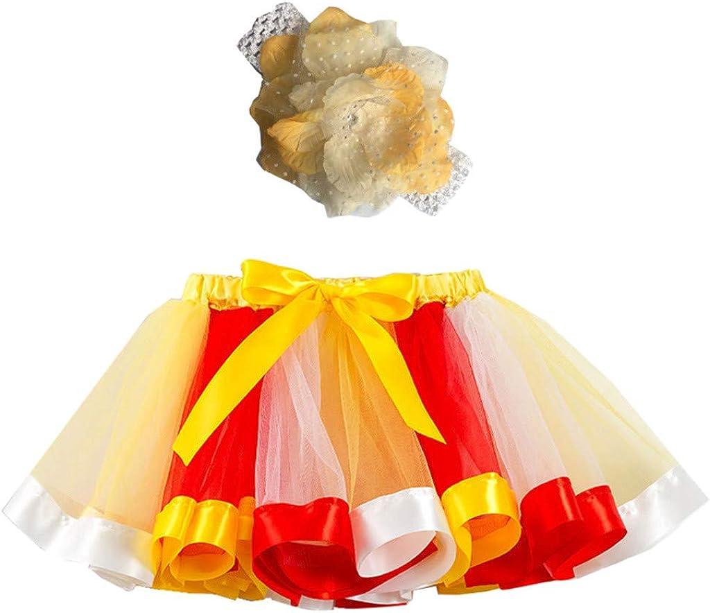 ZahuihuiM 2020 Kleinkinder M/ädchen Regenbogen Tutu Rock mit Stirnband T/üll Geschichteten Ballett R/öcke kleine M/ädchen verkleiden Sich Tanzparty Tutu