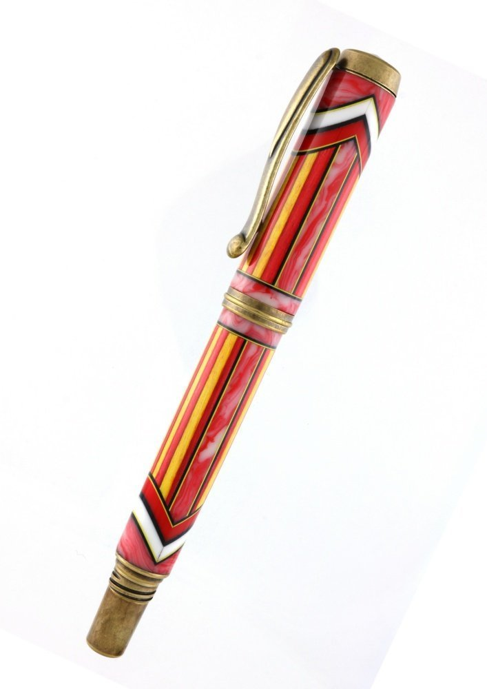 George II Red Yellow Segmented Acrylic Wood Antique Brass Fountain or Rollerball Pen