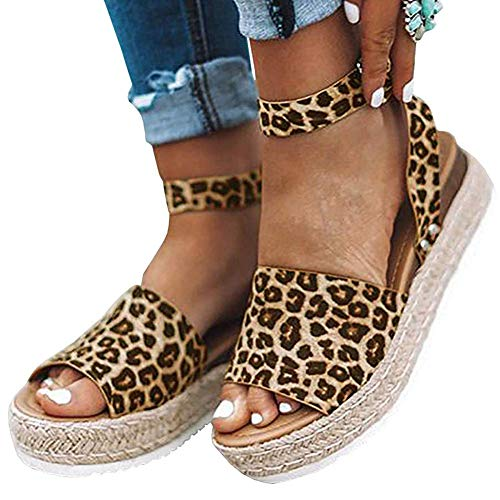 (Camisunny Beach Sandals for Women Summer 2019 Comfortable Open Toe Leopard Smooth Size 40)