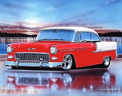 1955 Chevy Bel Air 2 Door Hardtop Hot Rod Car Art Print Red & White 11x14  Poster