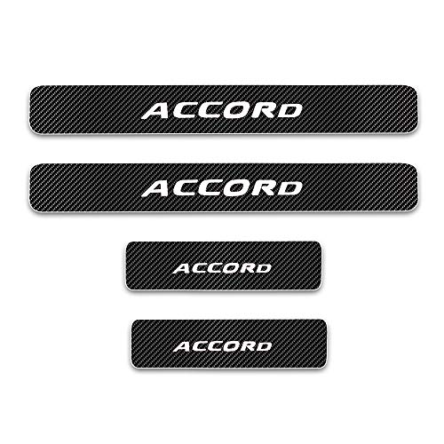 For Honda Accord Door Sill Protector Reflective 4D Carbon Fiber Sticker Door Entry Guard Door Sill Scuff Plate Stickers Auto Accessories 4Pcs White