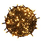 RPGT 200 LEDs 73ft Green Cable Wire Fairy String Tree Twinkle Lights 8 modes for Christmas Party, Outdoor, Garden, Wedding, Home Decoration (Warm White)