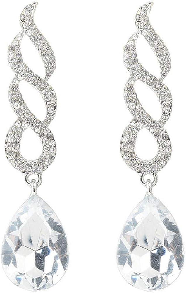 Brillantes Mujeres Señoras Eardrop,Pendientes Idea de Regalo para Mujeres Niñas,Aretes colgantes con forma de espiral exagerada, aretes de diamantes con tendencia de colgante de piedras preciosas