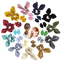 22pcs Hair Scrunchies Chiffon,11pcs Hair Bow for Adult Soft Elegant Elastic Hair Bands Hair Ties Ponytail Holder Bobbles,11pcs Bow Hair Clip for Child Christmas Gift Daily Decorations