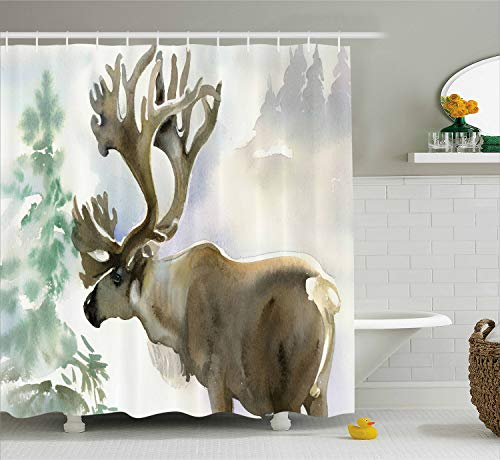 Female Moose - Ambesonne Moose Shower Curtain Set Antlers Decor, Moose in Winter Forest Wildlife Reindeer Christmas Theme Watercolor Painting Style Art, Fabric Bathroom Accessories, with Hooks, Beige Green