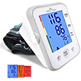 Easy@Home Digital Upper Arm Blood Pressure Monitor Large Cuff BP Monitor, 3-Color Hypertension Backlit display and Pulse Meter-FDA Cleared for OTC, IHB Indicator, 2 User Mode, FSA Eligible EBP-095L