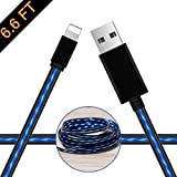 LED Lighting Charging Cable, Oliomp 6.5FT Fasting Charging Cords Visible Flowing Lighting Cable Compatible with Phone X/8/8 Plus/7/7 Plus/6/6 Plus/6S Plus/5/5s,Pad,iPod(Blue)