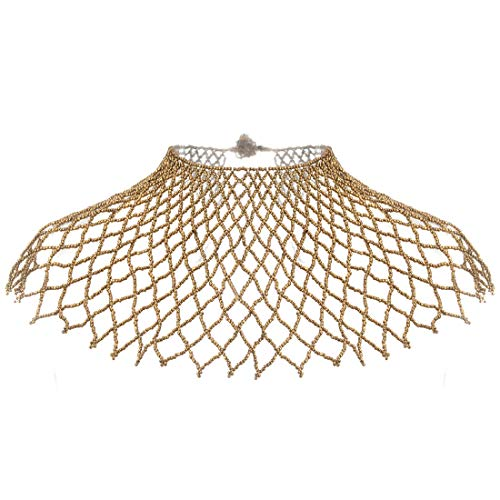 XBY-Jewel 5 Color Sexy Women Statement Chain Necklace Multistrand Resin Beads Chunky Collar Costume Jewelry (Gold)