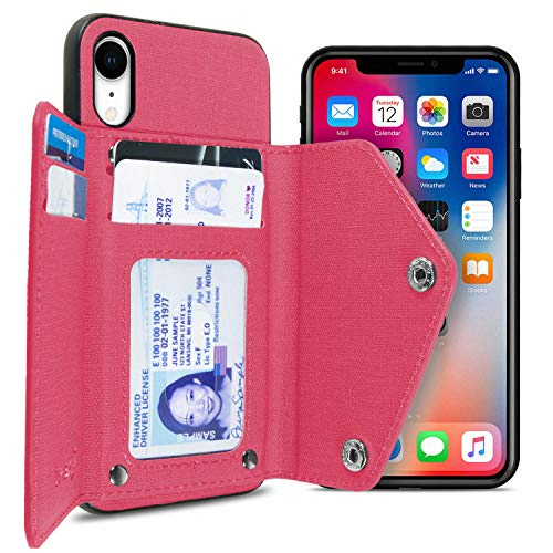 CoverON Pocket Pouch Series iPhone XR Credit Card Case, Protective Woven Fabric Phone Cover Wallet Case for Apple iPhone XR (6.1