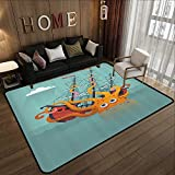 All Weather mats,Kraken,Giant Squid Sinking a Pirate Boat into Ocean Anchor Ship Humor Kids Design,Orange Teal 71''x 106'' Soft Area Children Baby Playmats