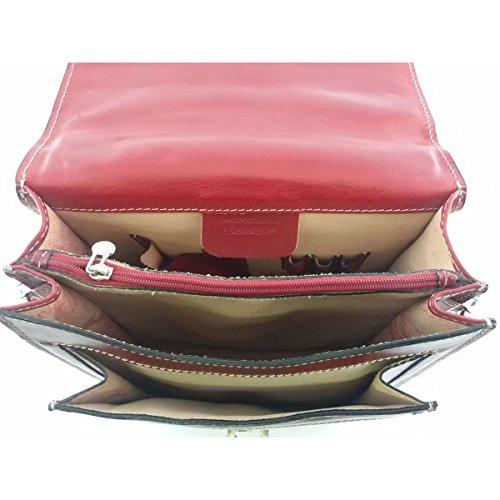 Herren Ledertasche Farbe Rot - Italienische Lederwaren - Herrentasche