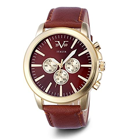 MENS V19.69 ITALIA VM1133 WATCH; GOLD CASE, DECORATIVE SUBDIALS, BURGUNDY DIAL, BROWN STRAP (Gold Versus Watches For Men)