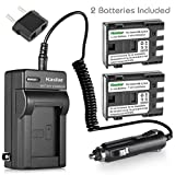 Kastar Battery (2-Pack) and Charger Kit for Canon NB-2L NB-2LH NB-2L12 NB-2L14 NB-2L24 BP-2L5 BP-2LH work with Canon DC301 DC310 DC320 DC330 DC410 DC420 Elura 40 50 60 65 70 80 85 90 EOS 350D 400D Digital Rebel XT XTi FV500 FVM20 FVM30 FVM100 FVM200 HG10