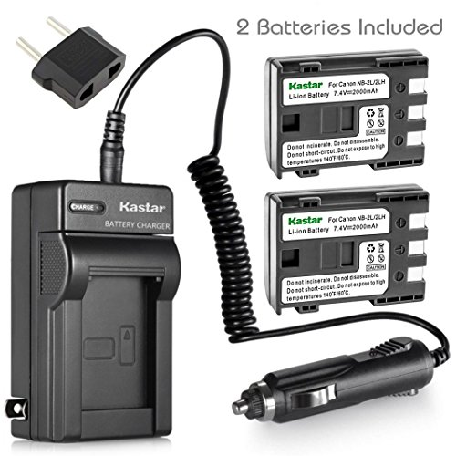 Kastar Battery (2-Pack) and Charger Kit for Canon NB-2L NB-2LH NB-2L12 NB-2L14 NB-2L24 BP-2L5 BP-2LH work with Canon DC301 DC310 DC320 DC330 DC410 DC420 Elura 40 50 60 65 70 80 85 90 EOS 350D 400D Digital Rebel XT XTi FV500 FVM20 FVM30 FVM100 FVM200 HG10 HV20 HV30 Optura 30 40 50 60 400 500 PowerShot G7 G9 S30 S40 S45 S50 S60 S70 S80 VIXIA HF R10 HF R100 HF R11 HG10 HV20 HV30 HV40 ZR100 ZR200 ZR30
