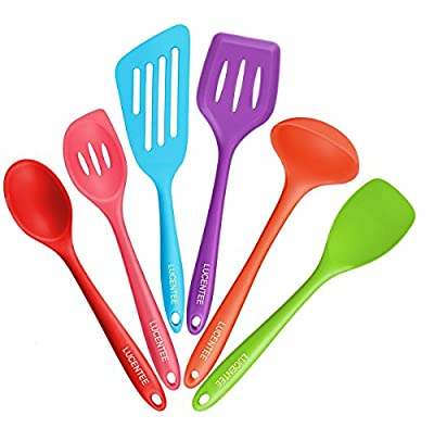Lucentee 6-Piece Silicone Cooking Set - 2 Spoons, 2 Turners, 1 Spoonula / Spatula & 1 Ladle - Heat Resistant Kitchen Utensils (Multicolor)