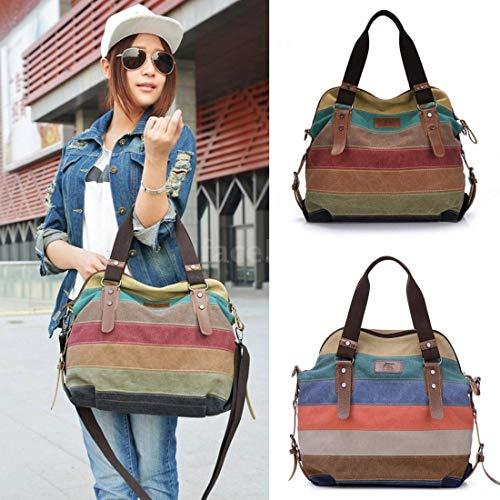 hainan Women Stripe Canvas Handbag Retro Men Canvas Hobo Shoulder Messenger Gallent Crossbody Tote Bag Brown One Size (Hobo Handbag Belted)