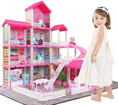 Temi Dollhouse Dreamhouse Building Toys Figure w/ Furniture, Accessories, Movable Slides, Pets and Dolls, DIY Cottage Pretend Play Doll House, Gift for Toddlers, Boys & Girls(11 Rooms)
