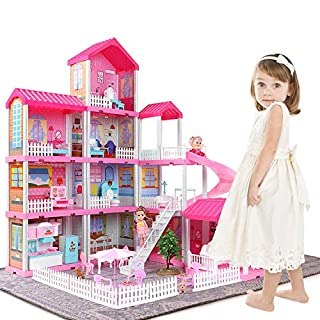 Temi Dollhouse Dreamhouse Building Toys Figure w/ Furniture, Accessories, Movable Slides, Pets and Dolls, DIY Cottage Pretend Play Doll House, for Toddlers, Boys & Girls(11 Rooms)