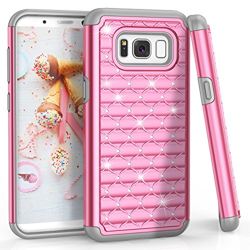 (S8 Case, Galaxy S8 Case for Girls Women, TILL(TM) Studded Rhinestone Crystal Bling Shock Absorbing Hybrid Defender Rugged Slim Case Cover for Samsung Galaxy S8 S VIII 5.8 Inch 2017 [Pink])