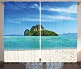 Ambesonne Ocean Island Decor Collection, Poda Island in Thailand Lagoon Limestone Sunshine Surfing Coastline Picture, Living Room Bedroom Curtain 2 Panels Set, 108 X 90 Inches, Blue Teal Ivory For Sale