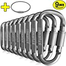 STURME Carabiner Clip Aluminum D-Ring Locking durable Strong and Light Large Carabiners Clip Set for Outdoor Camping Screw Gate Lock Hooks Spring Link Improved Design Pack (9 PACK)