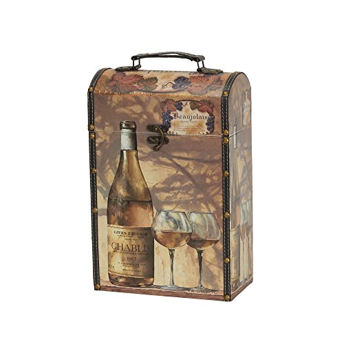 (Household Essentials 9207-1 Decorative Double Wine Caddy Gift Box Décor)